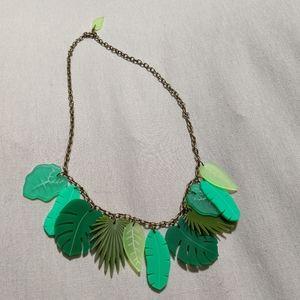 Multi- colored tiki leaf necklace